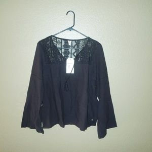Black Peasant Semi Sheer Sweet Sunshine Blouse